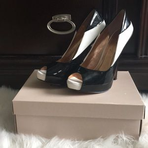 BCBG Black and White Heels